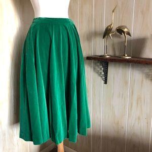 1950's Green Velvet Aline Skirt